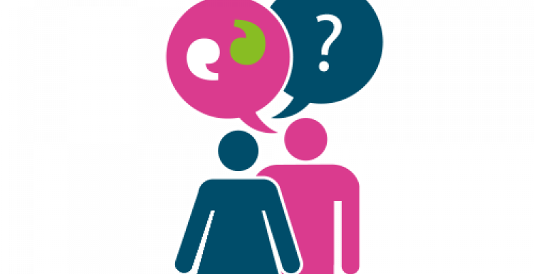 Graphic of two people speaking