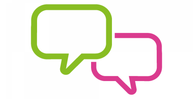 Graphic of two speech bubbles